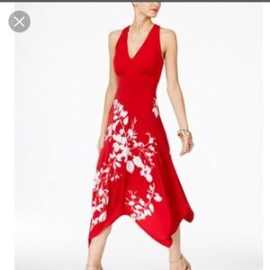 Never worn INC red halter dress with scarf hem xl